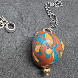 Clay Color Ball Pendant Gun Metal Chain Necklace